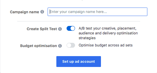 Turning on an A/B test on Facebook