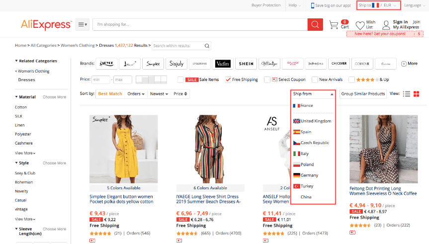 Selecting the country to ship from on AliExpress