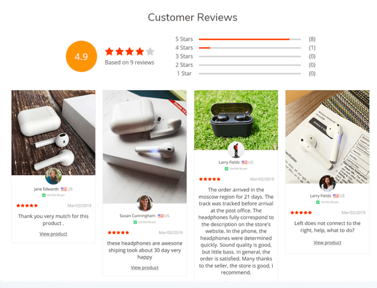 Reviews Page add-on is a piece of dropshipping software that creates social proof and inspires your customers' trust