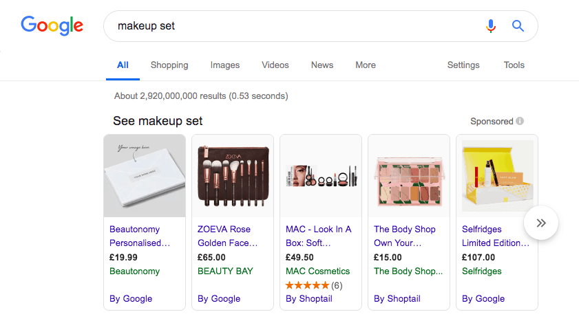 Google Shopping ads used as a part of a dropshipping sales funnel