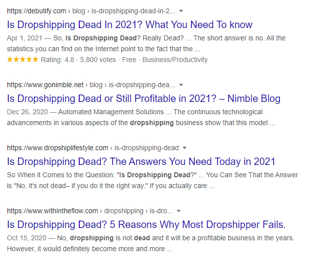 'Is dropshipping dead?' search in Google