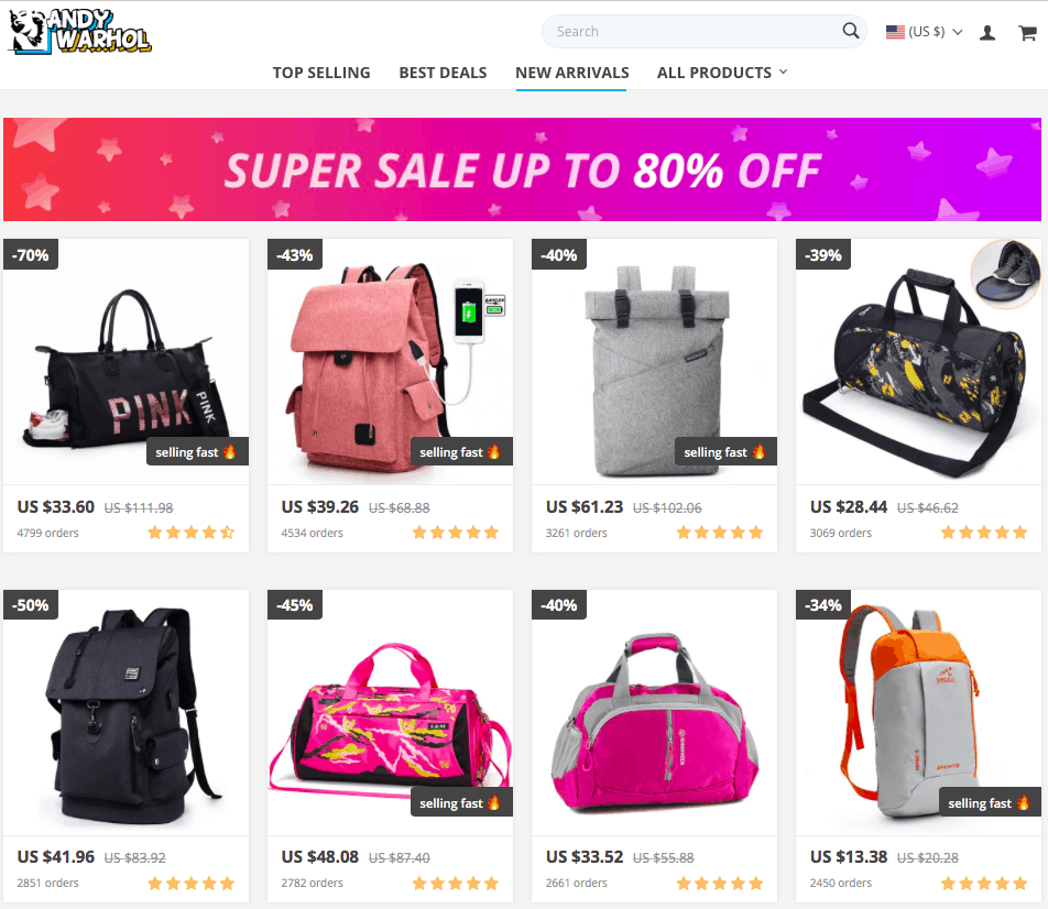 An online store page with a discount banner