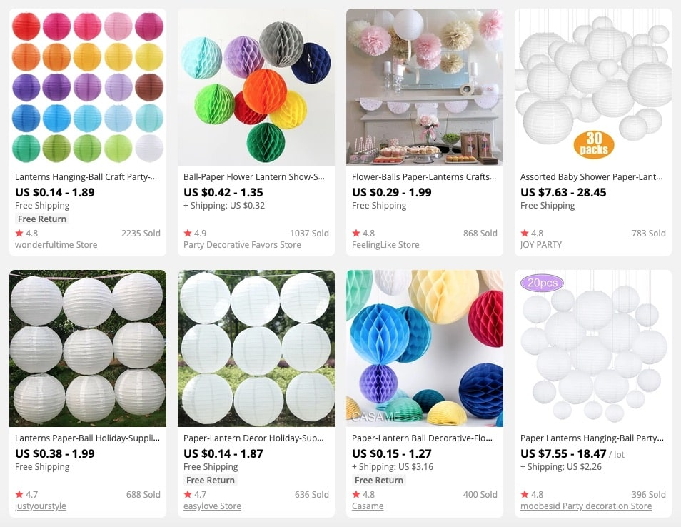 a picture that shows promising products to sell in party supplies stores