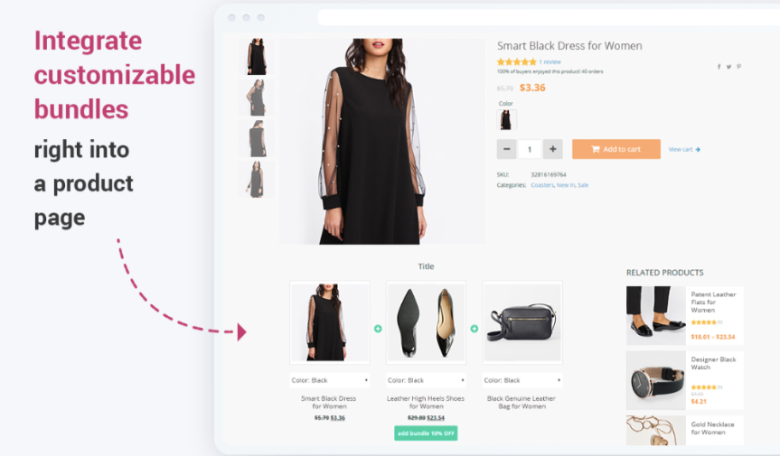 Product Bundle llets you to create attractive product sets and inspire larger scale purchases