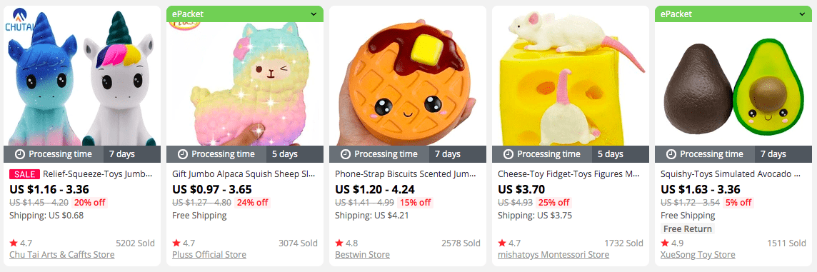 Assorted squeeze toys on AliExpress