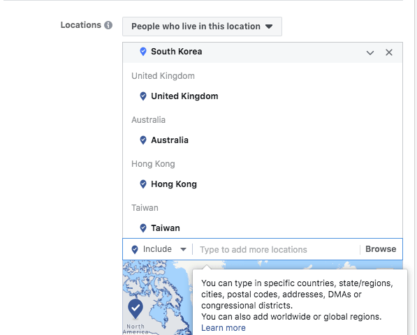 Facebook ad optimization: dividing by locations