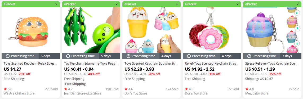 Squishy keychains are portable anti-stress toys.