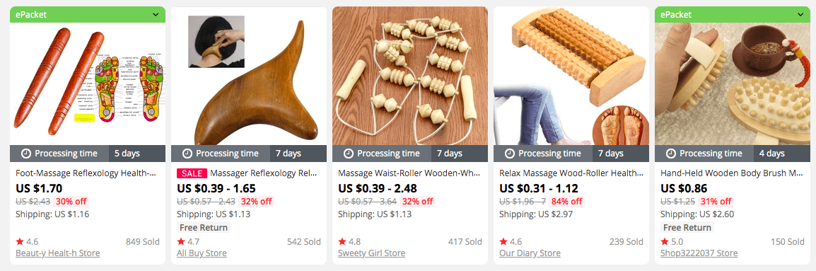 Wooden massage tools on AliExpress