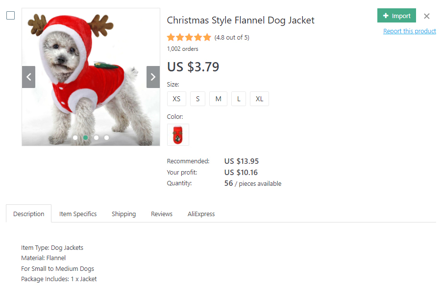 Christmas style jacket for dogs
