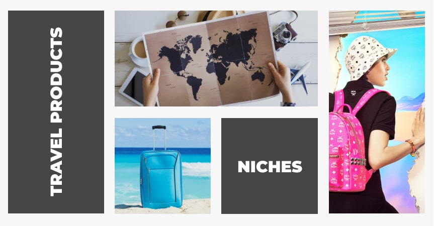 Image of a map, travel bag and a backpack as examples of what you can import to dropship travel products