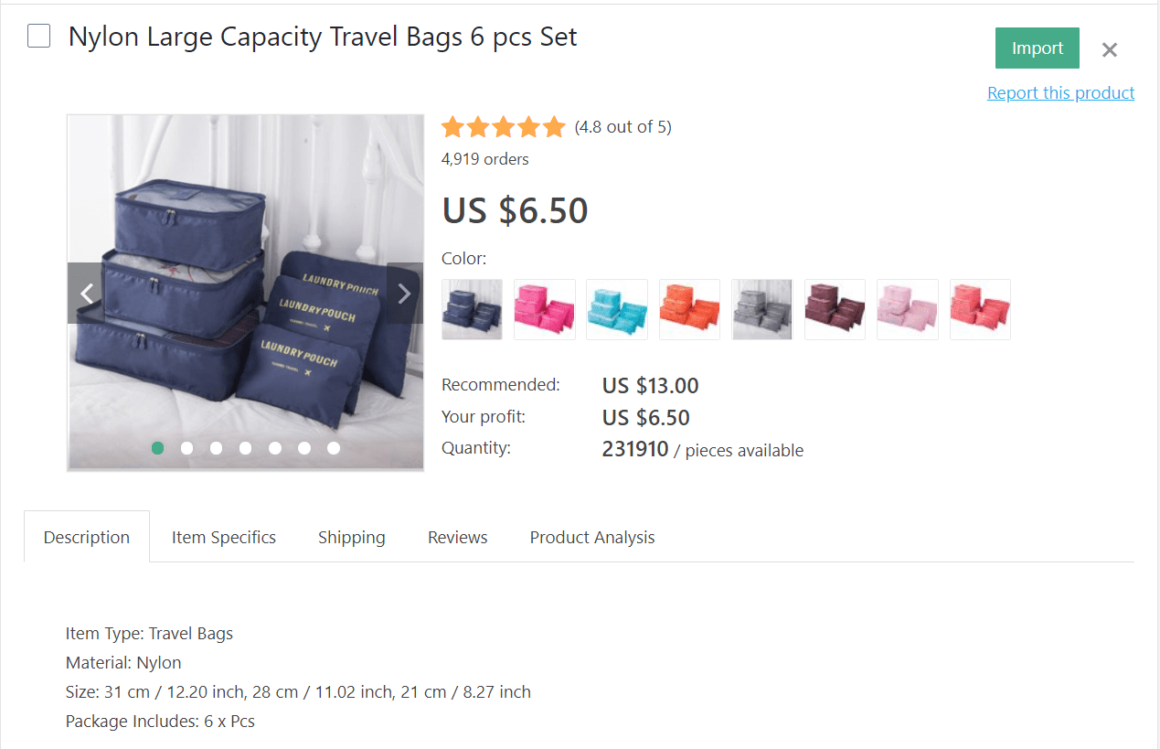 If you want to dropship travel products, consider selling large-capacity nylon travel bags