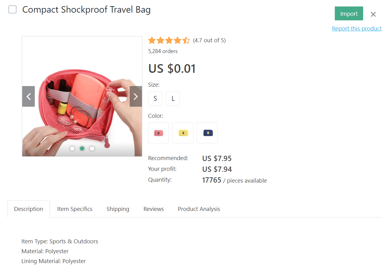 Pink compact shockproof travel bag