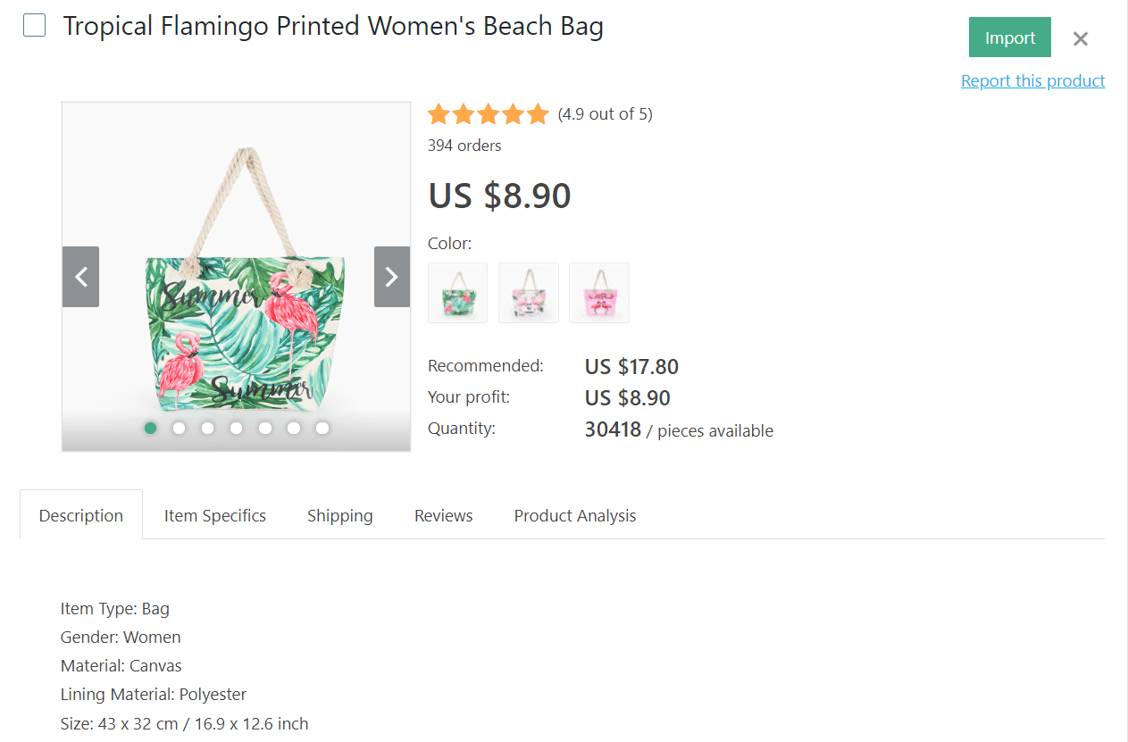 Tropical flamingo printed beach bag for women is another product idea for dropshipping