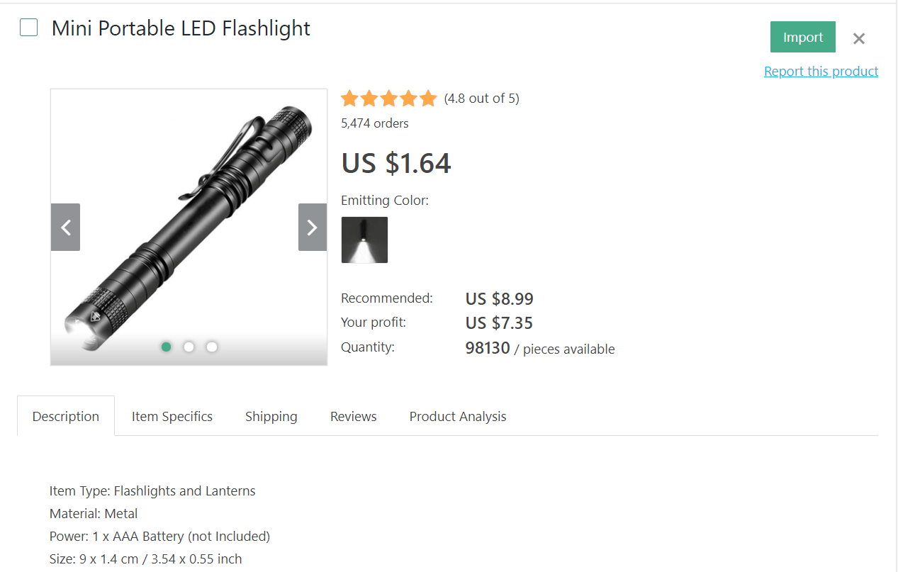 Black portable LED flashlight to dropship from your online store
