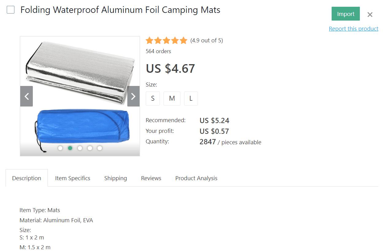 Waterproof camping mats in aluminum foils