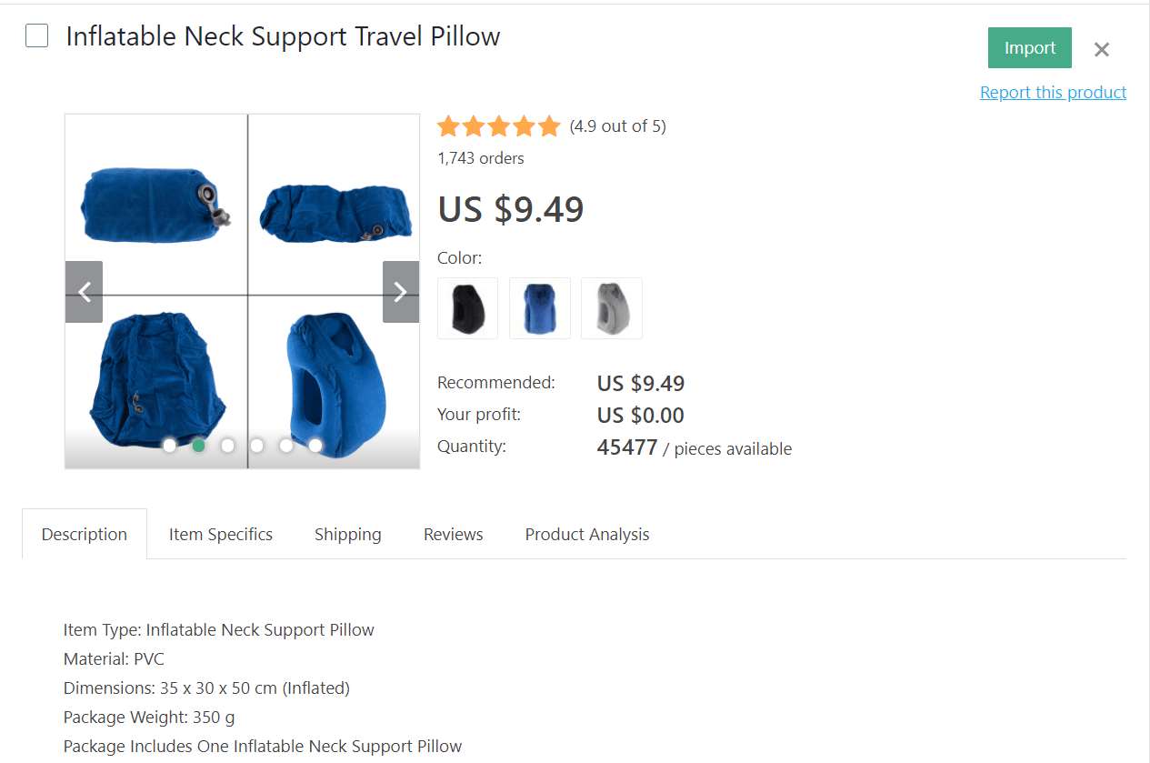 Blue inflatable neck-support pillow to make your journey more comfortable