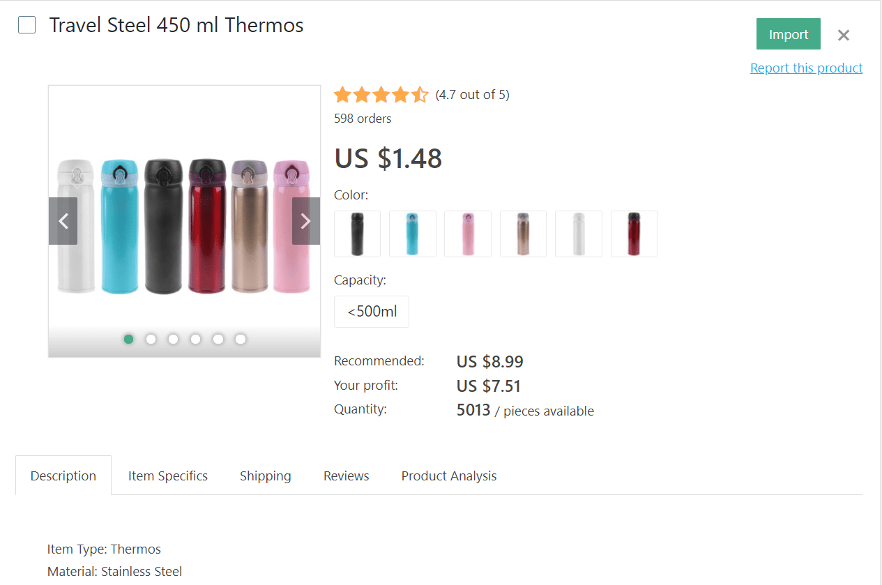 Stell 450 ml thermos for trips