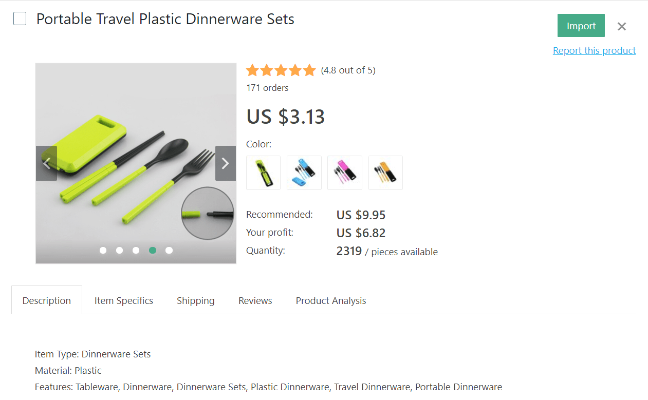 Plastic dinnerware sets can be very useful when you travel