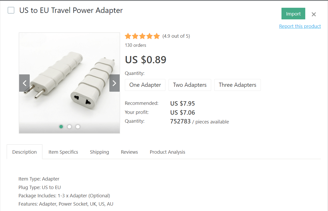 US to EU power adapter for travelers going to Europe