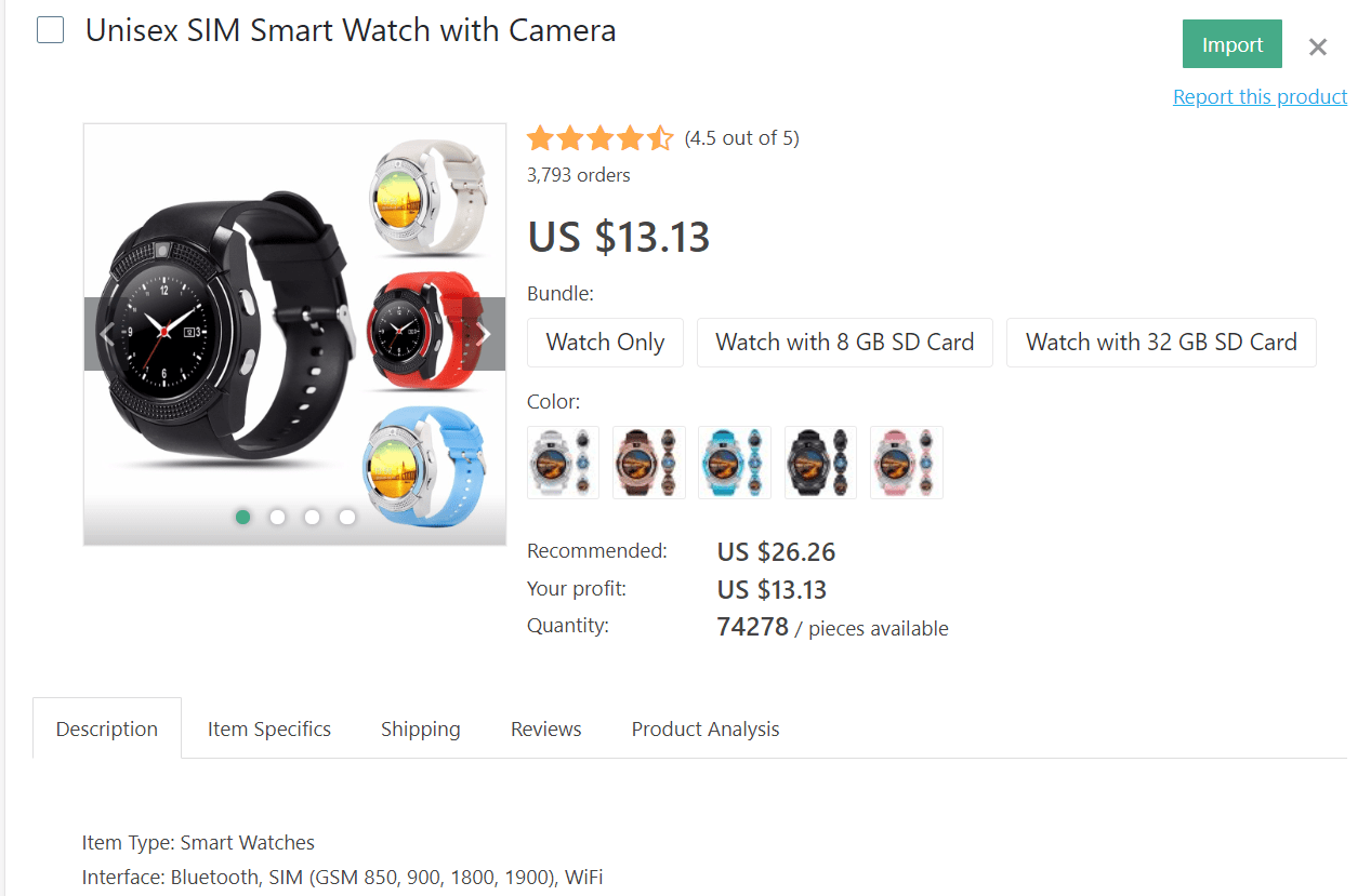 If you want to dropship travel products, consider selling unisex smart watches with a camera