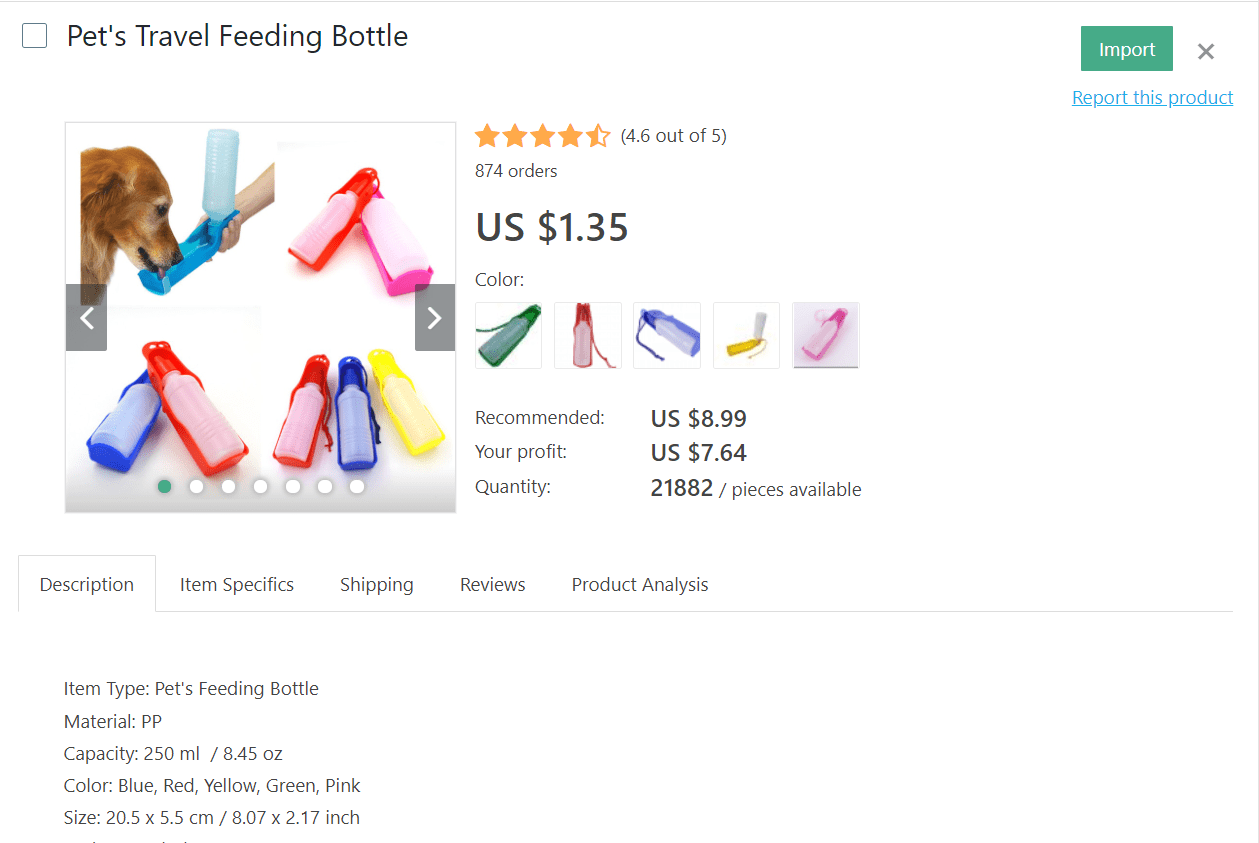 Clients who travel with their pets will be glad to find portable feeding bottles at your dropshipping store