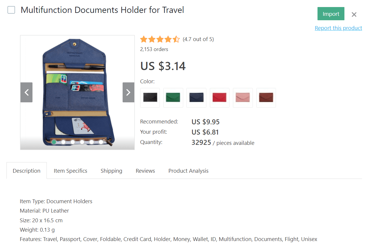 If you want to dropship travel products, consider selling this multifunctional documents holder