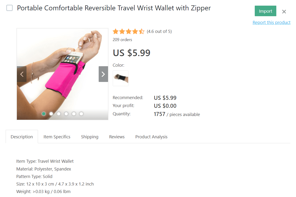 Pink travel wrist wallet - a great travel product to dropship