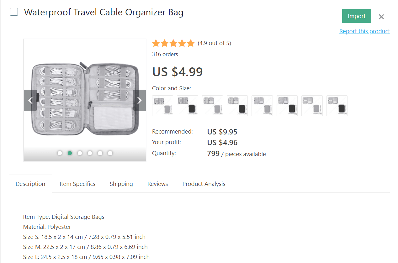 White waterproof cable organizer bag for trips