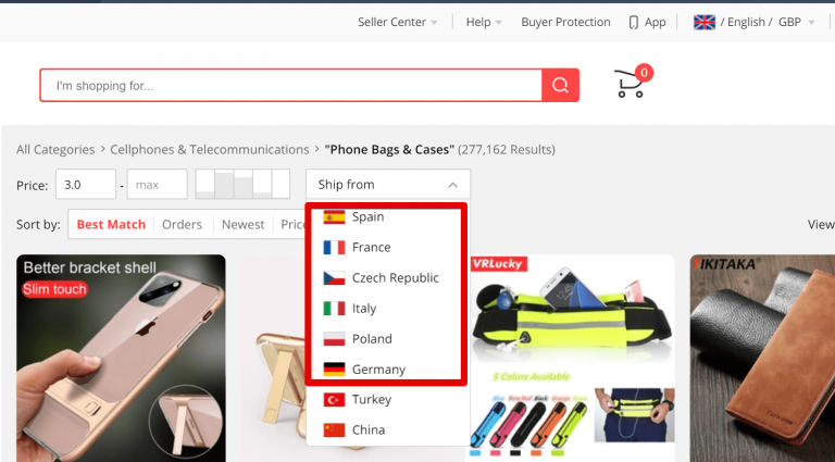 Screenshot of AliExpress search page where you can look for products that can be delivered from particular countries - Spain, France, Czech Republic, Italy, Poland and Germany