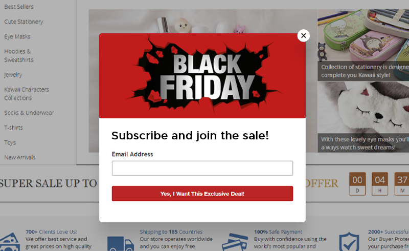 a picture showing how black friday pop-up works