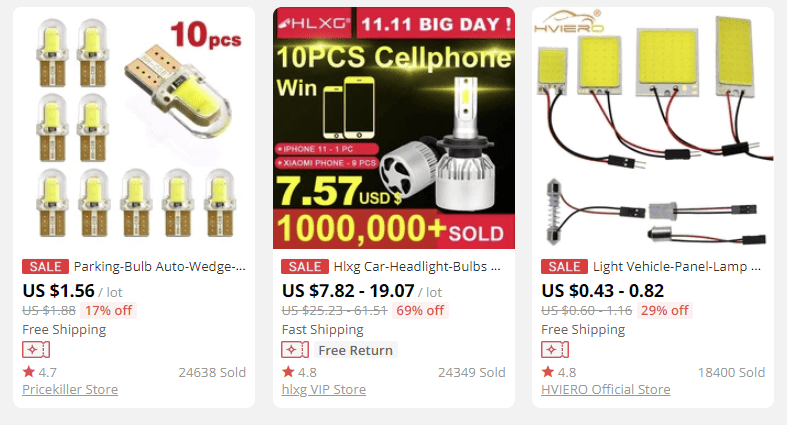 a picture showing a number of car lights to sell