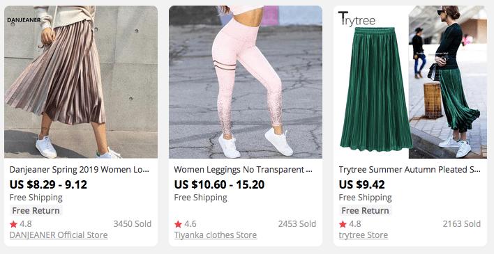 Shiny metallic-texture skirts and leggings