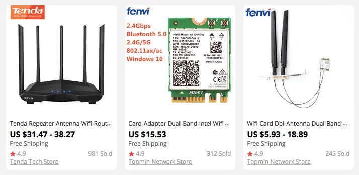 Three Wi-Fi 6 gadgets sold on AliExpress