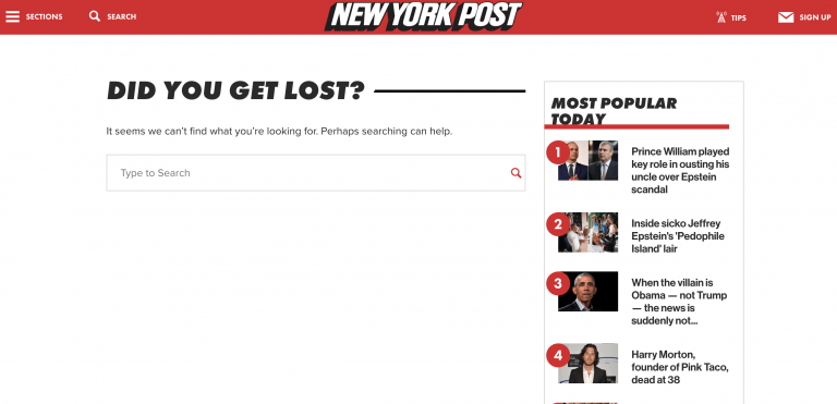 New York Post 404 page example