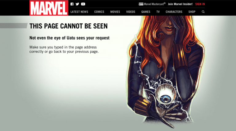 Funny 404 page marvel