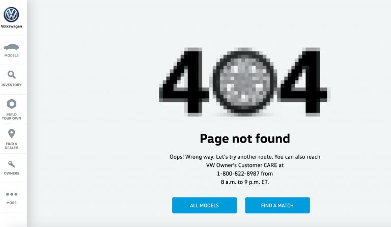 Volkswagen 404 error