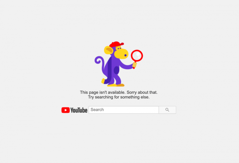 YouTube 404