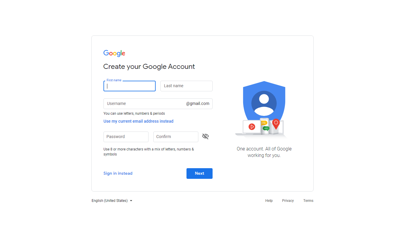 sign up google account