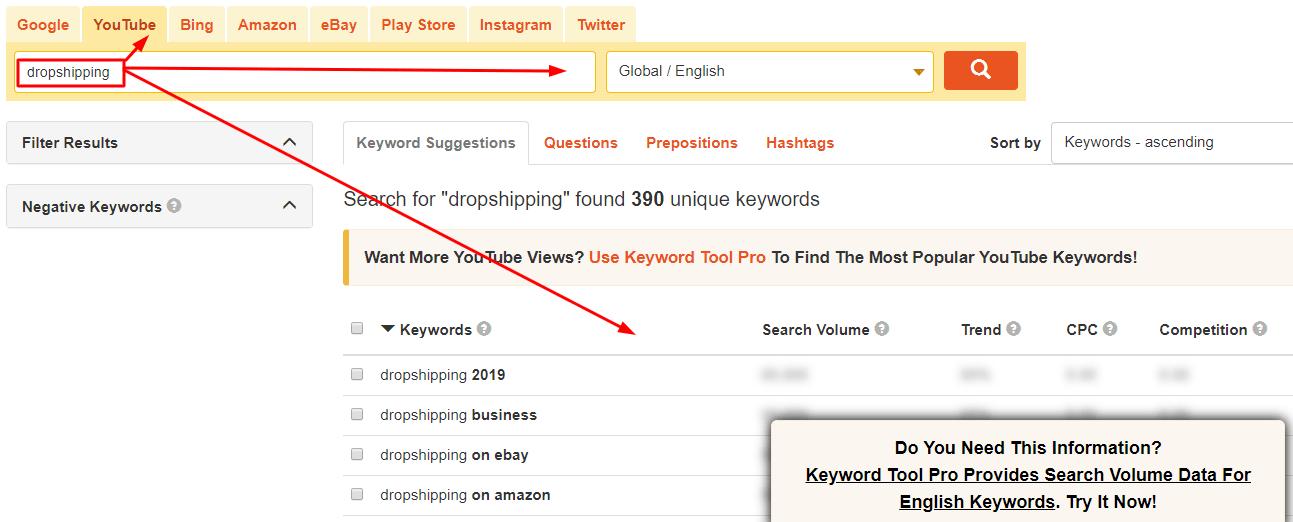 youtube keywords research Keywordtool
