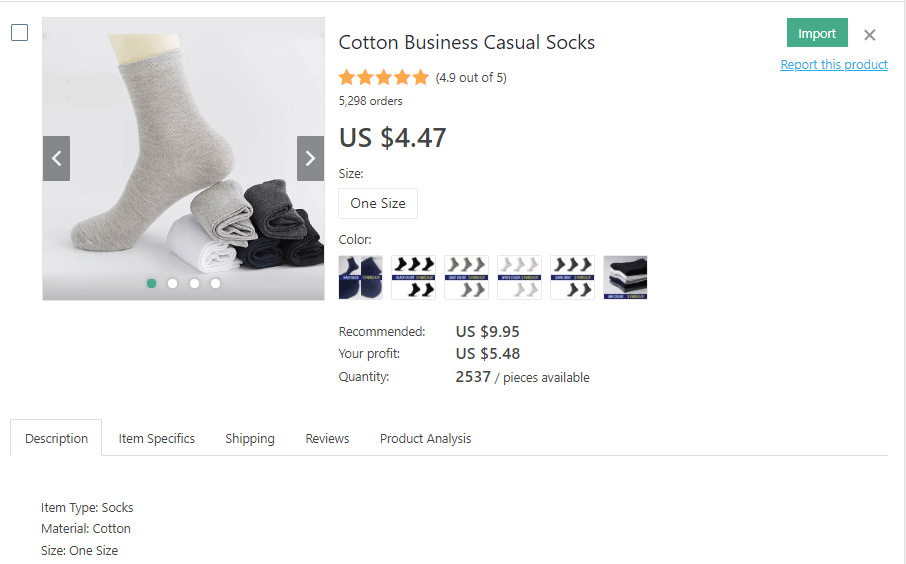 a picture showing which socks it's profitable to dropship