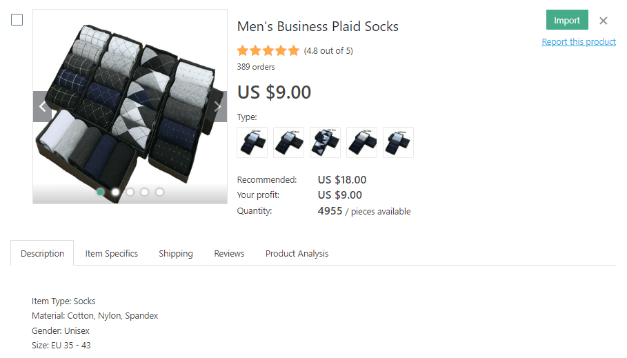 a picture showing an example of socks to dropship
