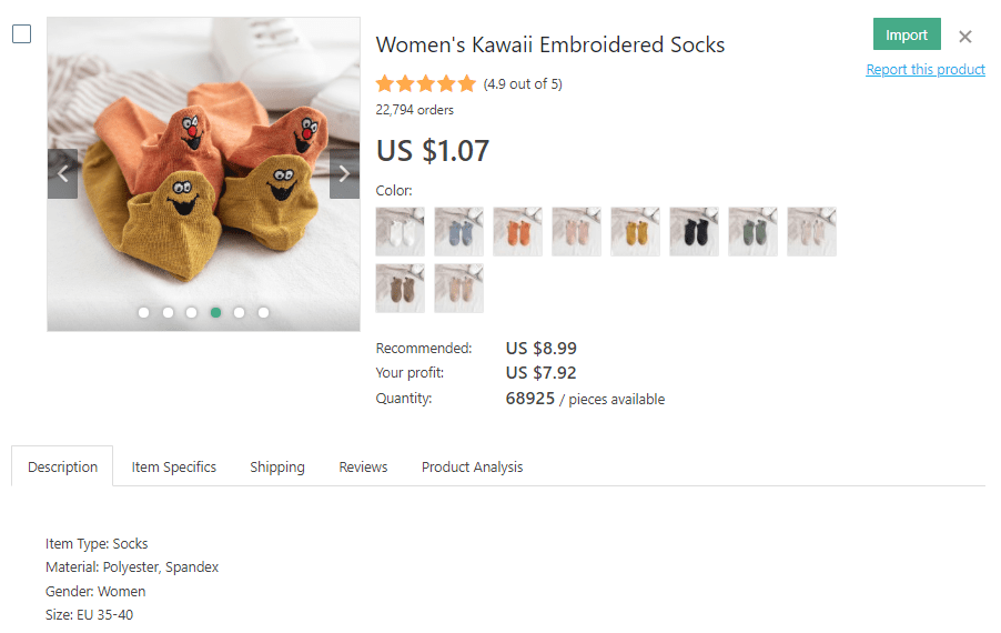 a picture showing which socks to dropship for profit