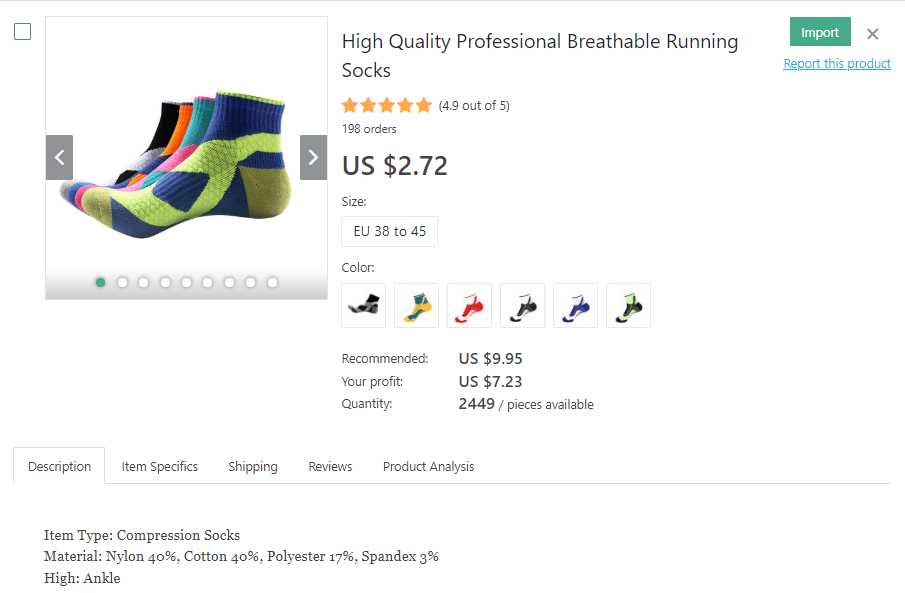 a picture showing the most promising socks to dropship for profit