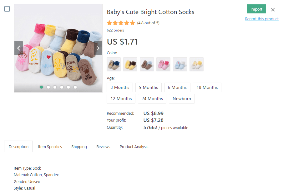 a picture showing where to find baby's socks at wholesale prices to dropship for profit