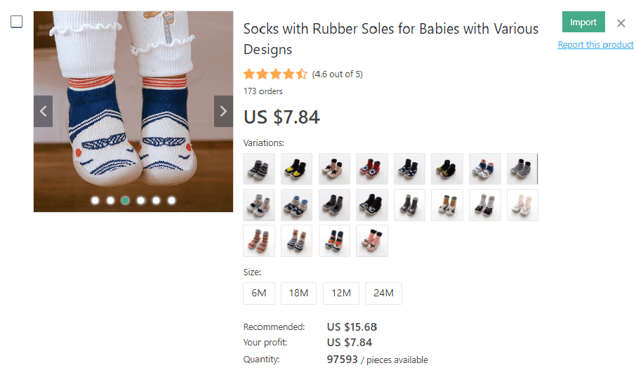 an image showing a prime example of baby's socks that really sell and bring profit
