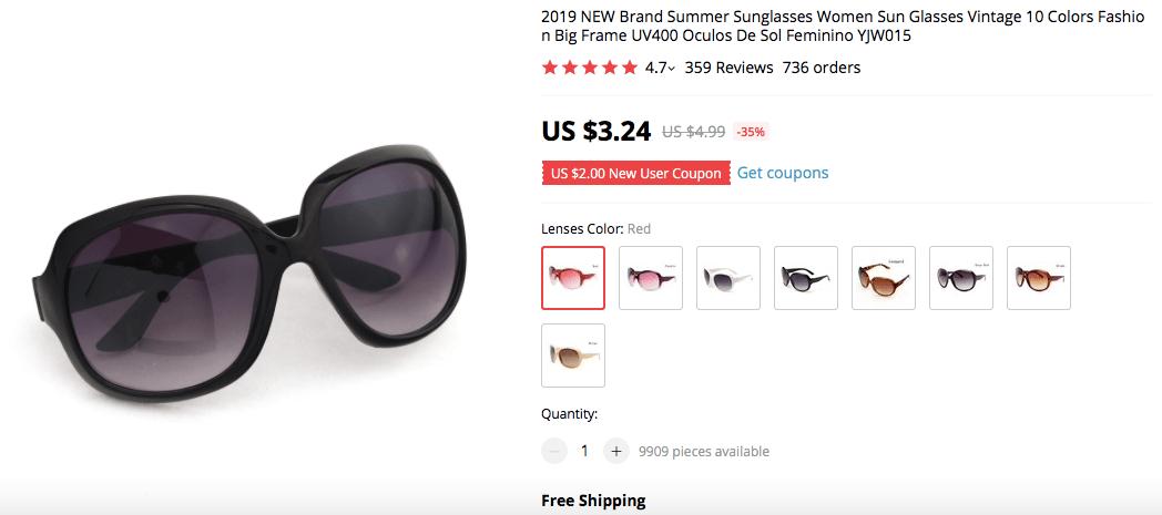 Vintage Big Frame Sunglasses