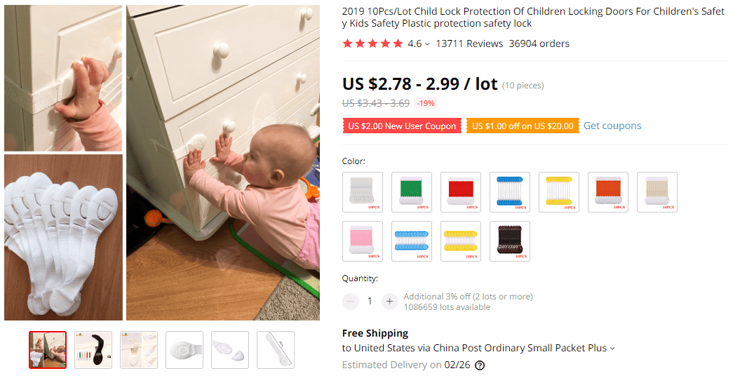 Child Safety Lock on AliExpress