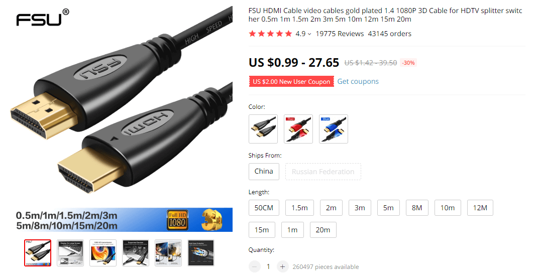 Things under 5 dollars: FSU HDMI Cable on AliExpress