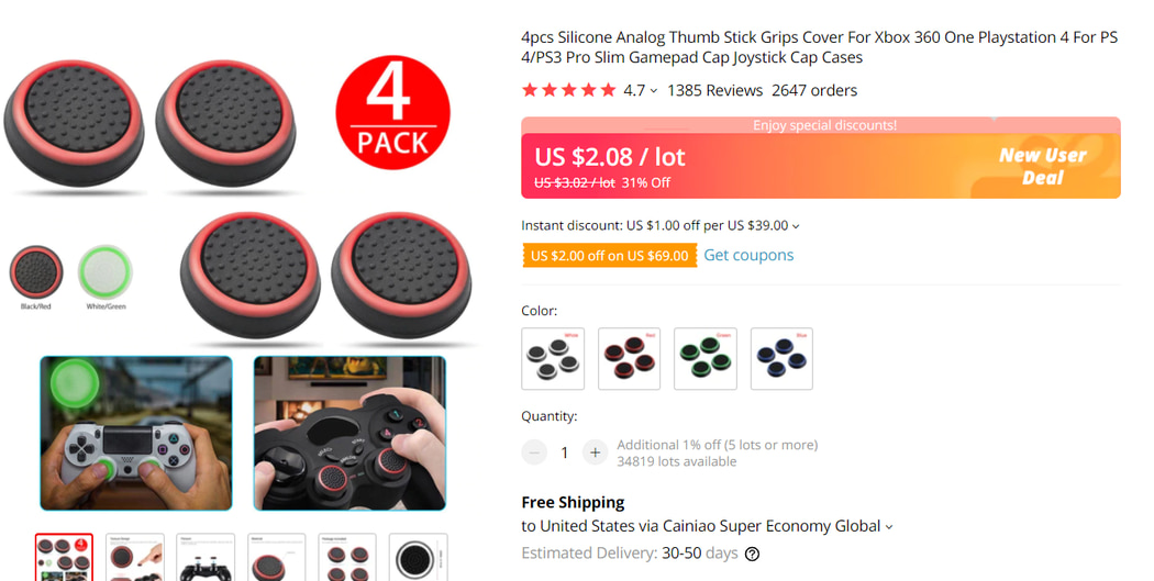 Gamepad Thumb Stick Cover on AliExpress