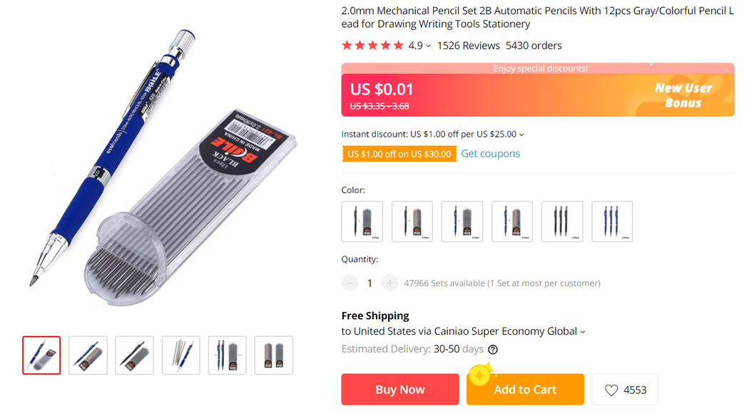Things under 5 dollars: Mechanical Pencil Set on AliExpress